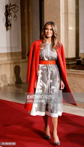US First Lady Melania Trump arrives to attend the partners' programme at the city hall during the G20 summit in Hamburg northern Germany on July 8...
