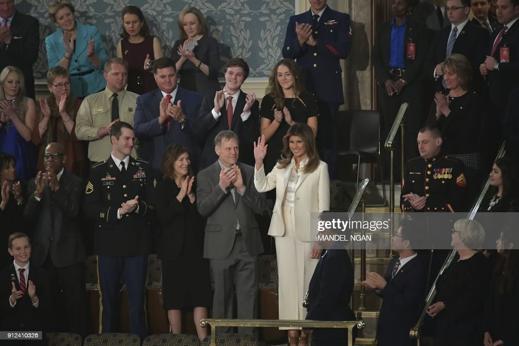 First Lady Melania Trump arrives to attend the State of the Union address at the US Capitol in Washington, DC, on January 30, 2018. / AFP PHOTO / Mandel NGAN