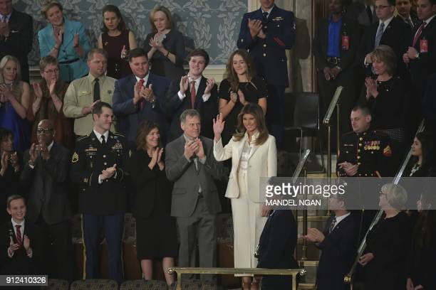 First Lady Melania Trump arrives to attend the State of the Union address at the US Capitol in Washington DC on January 30 2018 / AFP PHOTO / Mandel...