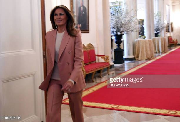 US First Lady Melania Trump arrives to host an Interagency meeting to discuss youth programs throughout each of the member agencies at the White...