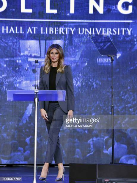 First Lady Melania Trump arrives to participate in a town hall meeting on opioids at Liberty University in Lynchburg Virginia on November 28 2018