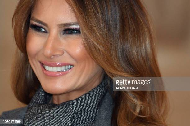 US First Lady Melania Trump arrives to take part in a spousal event at the Chateau de Versailles in Versailles outside Paris on November 11 2018 as...