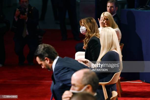 US First Lady Melania Trump arrives wearing a mask during the first presidential debate at Case Western Reserve University and Cleveland Clinic in...