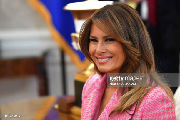 US First Lady Melania Trump at the to the White House in Washington DC on February 13 2019 US President Donald Trump hosted his Colombian counterpart...