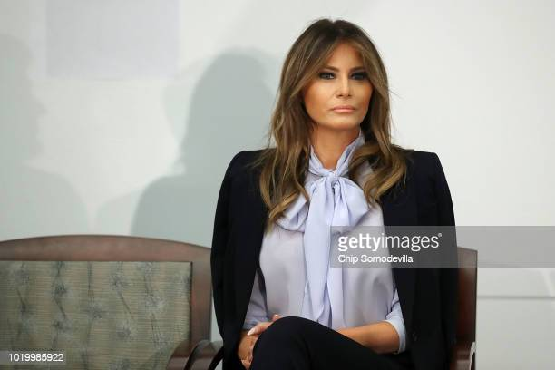 S first lady Melania Trump attends a Federal Partners in Bullying Prevention summit at the Health Resources and Service Administration August 20 2018...