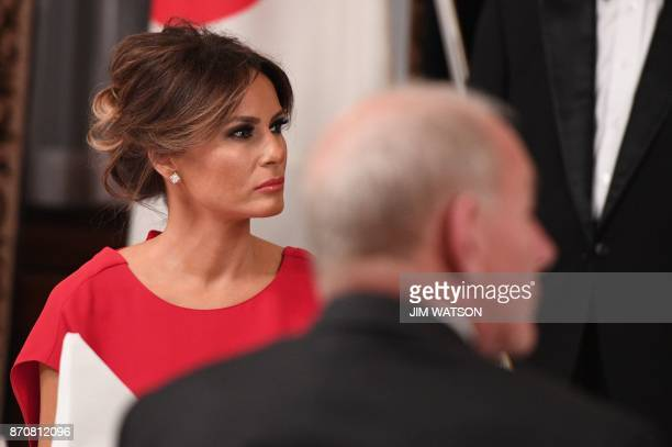 US First Lady Melania Trump attends a state banquet dinner attended by US President Donald Trump and Japanese Prime Minister Shinzo Abe in Tokyo on...