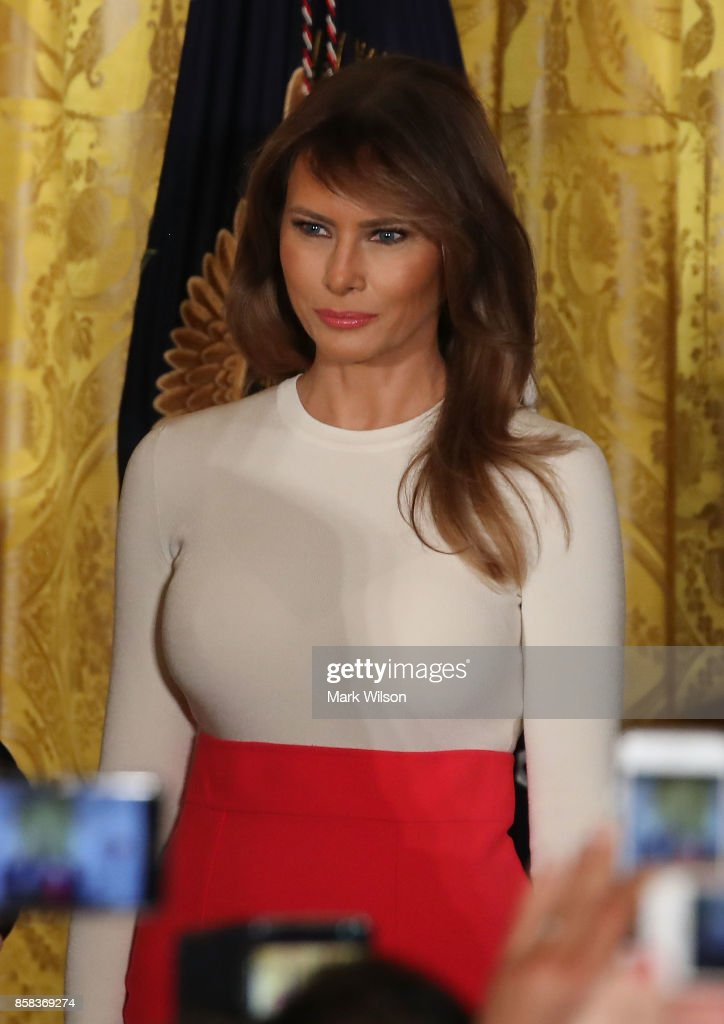 First lady Melania Trump attends an event to celebrate Hispanic Heritage Month in the East Room of the White House at the White House, on October 6, 2017 in Washington, DC.
