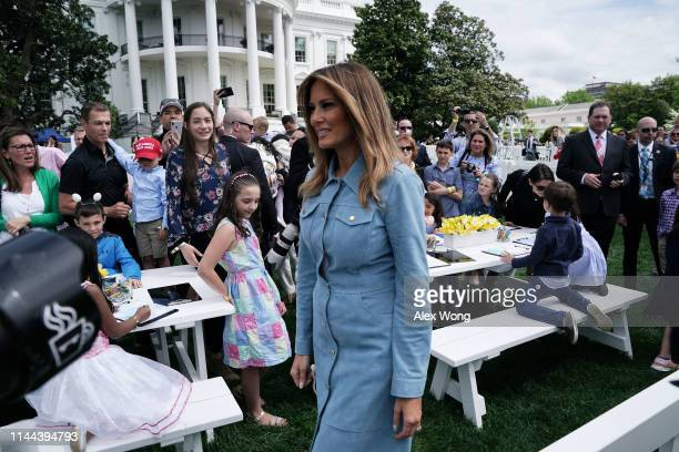 S first lady Melania Trump attends the 141st Easter Egg Roll on the South Lawn of the White House April 22 2019 in Washington DC About 30000 people...