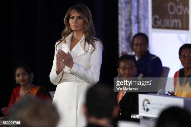 S first lady Melania Trump attends the 2017 Secretary of State's International Women of Courage Award March 29 2017 in Washington DC The award honors...
