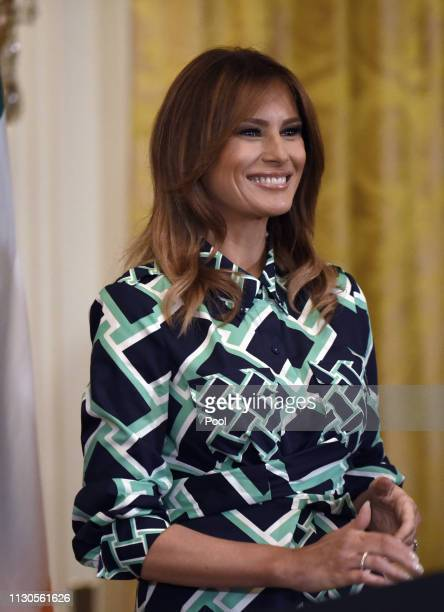 First lady Melania Trump attends the Shamrock Bowl Presentation with Prime Minister Leo Varadkar of Ireland at the White House on March 14 2019 in...