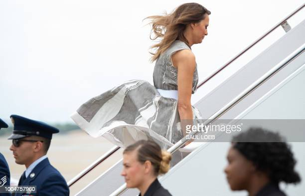 US First Lady Melania Trump boards a military airplane at Joint Base Andrews in Maryland July 24 as she travels to Nashville Tennessee to visit a...