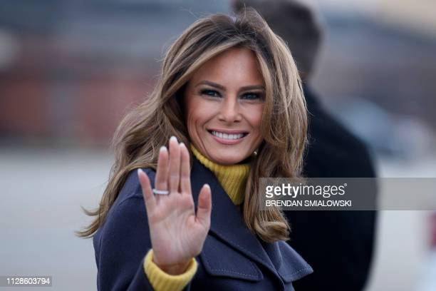 First Lady Melania Trump boards a plane at Andrews Air Force Base for a three state overnight trip March 4 2019 in Maryland The First Lady travels to...