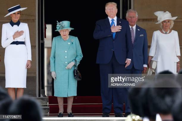 First Lady Melania Trump, Britain's Queen Elizabeth II, US President Donald Trump, Britain's Prince Charles, Prince of Wales and Britain's Camilla,...