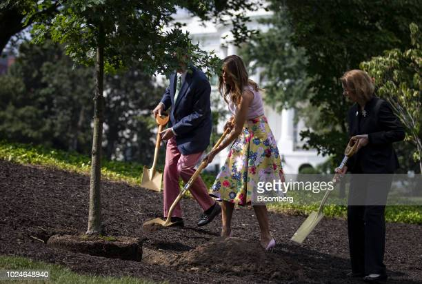 US First lady Melania Trump center plants a sapling from the original Eisenhower Oak tree with Richard Emory Gatchell Jr fifth generation grandson of...