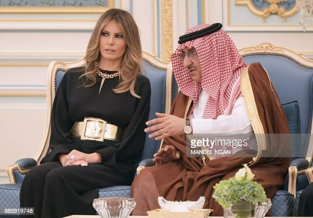 US First Lady Melania Trump chats with Saudi Deputy Crown Prince Muhammad bin Nayef bin Abdulaziz alSaud at a ceremony where US President Donald...