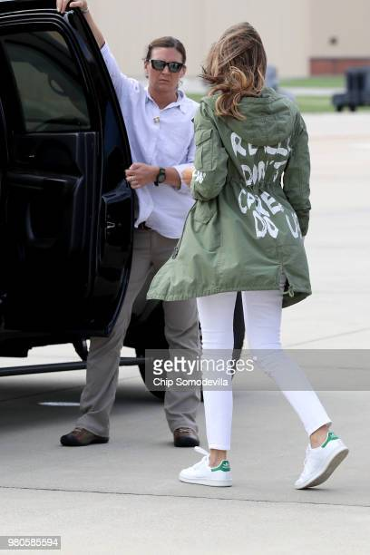 S first lady Melania Trump climbs back into her motorcade after traveling to Texas to visit facilities that house and care for children taken from...