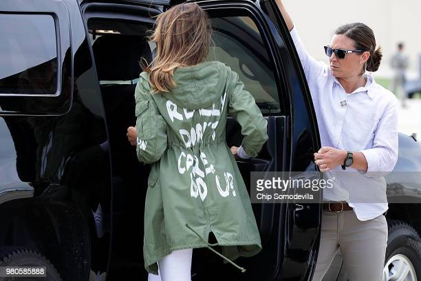 First lady Melania Trump climbs back into her motorcade after traveling to Texas to visit facilities that house and care for children taken from...