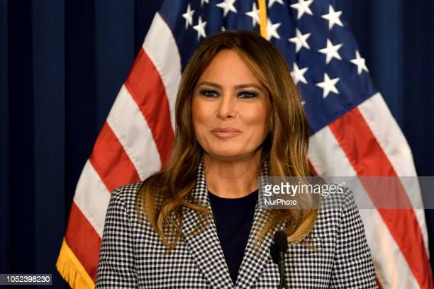 First Lady Melania Trump delivers remarks at a conference on Neonatal Abstinence Syndrome at Thomas Jefferson University Hospital in Philadelphia PA...