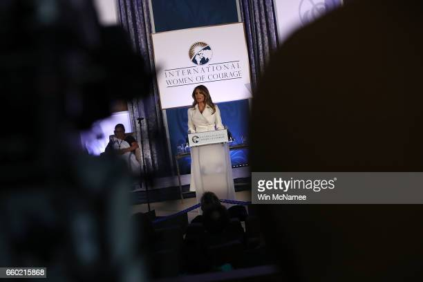 S first lady Melania Trump delivers remarks while attending the 2017 Secretary of State's International Women of Courage Award March 29 2017 in...