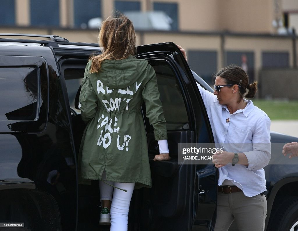 US First Lady Melania Trump departs Andrews Air Rorce Base in Maryland June 21, 2018 wearing a jacket emblazoned with the words 'I really don't care, do you?' following her surprise visit with child migrants on the US-Mexico border.