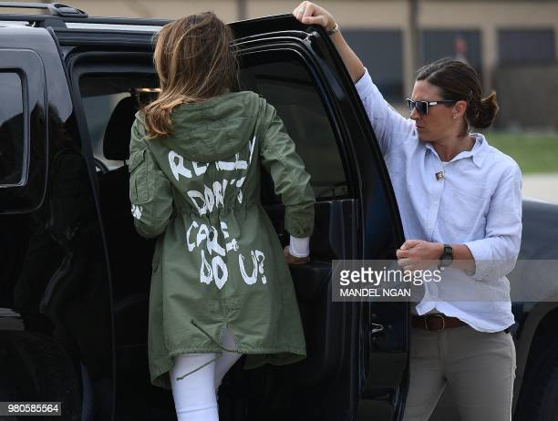 US First Lady Melania Trump departs Andrews Air Rorce Base in Maryland June 21 2018 wearing a jacket emblazoned with the words I really don't care do...