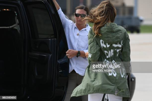 US First Lady Melania Trump departs Andrews Air Rorce Base in Maryland June 21 2018 wearing a jacket emblazoned with the words 'I really don't care...