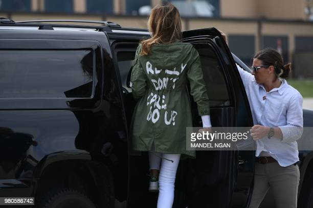 First Lady Melania Trump departs Andrews Air Rorce Base in Maryland June 21 2018 wearing a jacket emblazoned with the words I really don't care do...