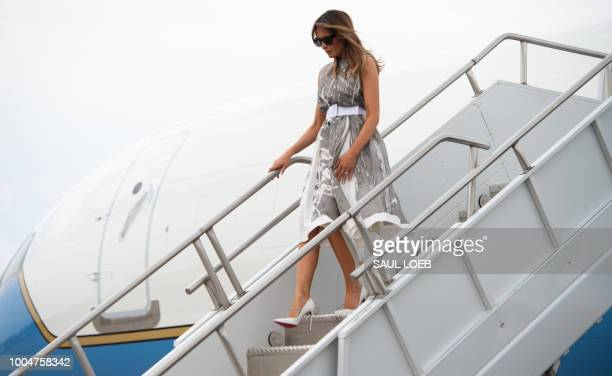 US First Lady Melania Trump disembarks from a military airplane after arriving at Nashville International Airport in Nashville Tennessee on July 24...