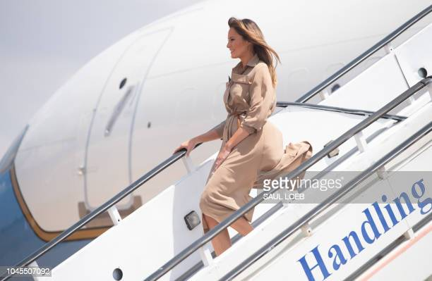 US First Lady Melania Trump disembarks from her military airplane upon arrival at Lilongwe International Airport October 4 2018 for a 1day visit in...