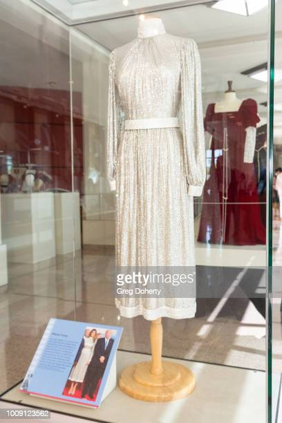 First Lady Melania Trump dress on display at Why They Wore It The Politics Pop Culture Of First Ladies'Fashion Exhibit Opening at Richard Nixon...