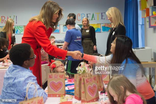 US First Lady Melania Trump exchanges valentines for Valentine's Day with children who are currently patients at the National Institutes of Health at...