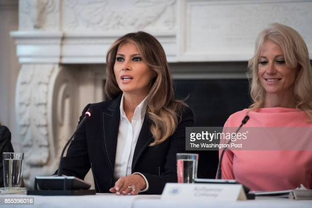 First lady Melania Trump flanked by Counselor to the President Kellyanne Conway speaks during an Opioid roundtable discussion held in the State...