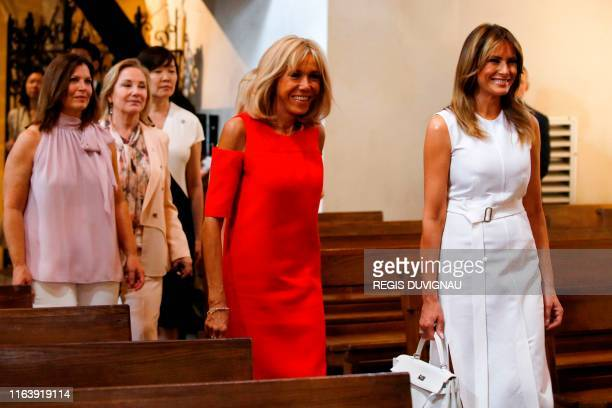US First Lady Melania Trump French President's wife Brigitte Macron Australia's Prime Minister's wife Jenny Morrison Chile's First Lady Cecilia Morel...