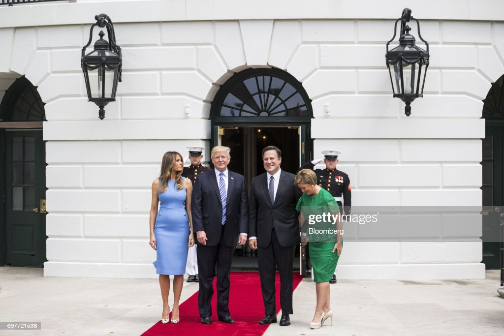 U.S. First Lady Melania Trump, from left, U.S. President Donald Trump, Juan Carlos Varela, Panama's president, and Lorena Castillo Garca de Varela, first lady of Panama, stand for photographs at the South Portico of the White House in Washington, D.C., U.S., on Monday, June 19, 2017. The U.S. is Panama's number one source of imports, accounting for 17 percent or $4.68 billion of the country's total imports, according to Massachusetts Institute of Technology's Observatory of Economic Complexity. Photographer: Zach Gibson/Bloomberg via Getty Images