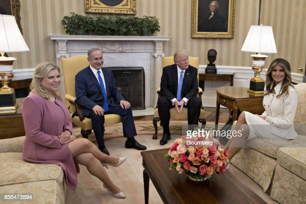 US First Lady Melania Trump from right President Donald Trump Benjamin Netanyahu Israel's prime minister and his wife Sara Netanyahu sit in the Oval...