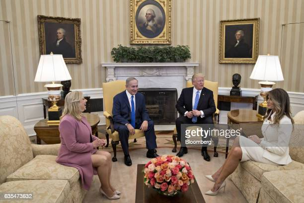 US First Lady Melania Trump from right US President Donald Trump Benjamin Netanyahu Israel's prime minister and his wife Sara Netanyahu sit in the...