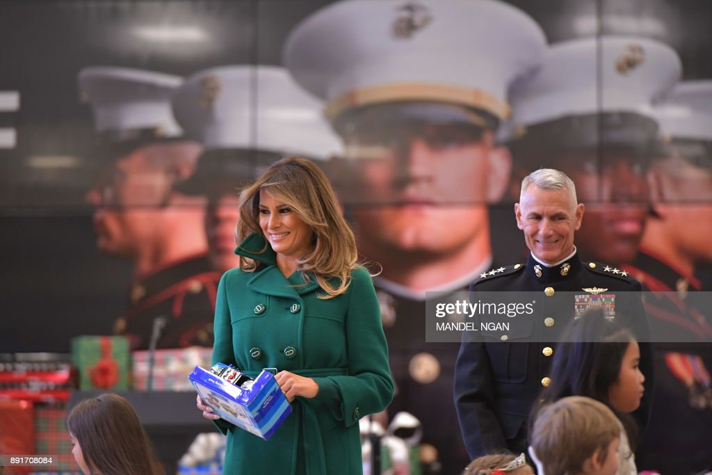 US First Lady Melania Trump helps with the Marine Corps Reserve Toys for Tots Campaign at Joint Base Anacostia-Bolling in Washington, DC on December 13, 2017 NGAN