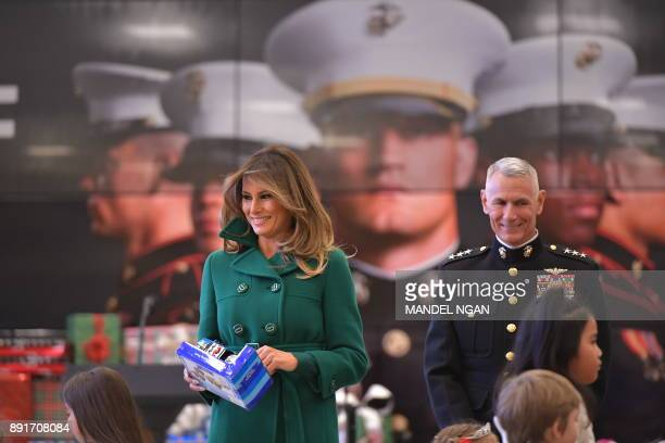 US First Lady Melania Trump helps with the Marine Corps Reserve Toys for Tots Campaign at Joint Base AnacostiaBolling in Washington DC on December 13...