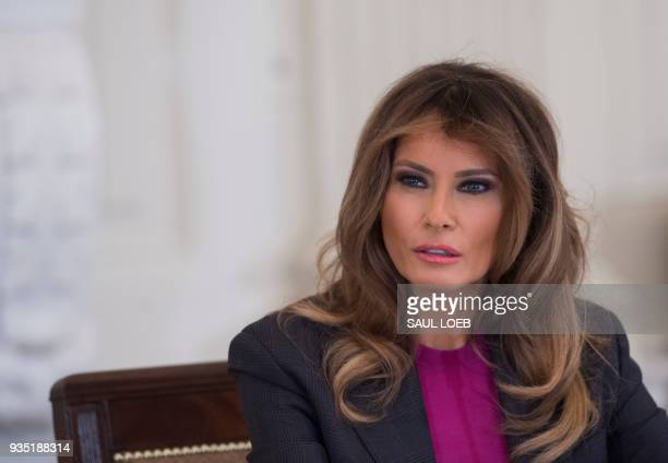 US First Lady Melania Trump holds a roundtable discussion on cyber safety with technology leaders in the State Dining Room of the White House in...