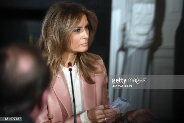 US First Lady Melania Trump hosts an Interagency meeting to discuss youth programs throughout each of the member agencies at the White House in...