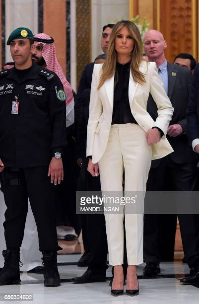 First Lady Melania Trump is seen ahead of the Arab Islamic American Summit at the King Abdulaziz Conference Center in Riyadh on May 21, 2017. US...