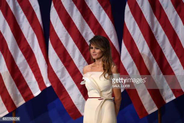 First Lady Melania Trump is seen the Salute to Our Armed Services Inaugural Ball at the National Building Museum in Washington, DC, January 20, 2017.
