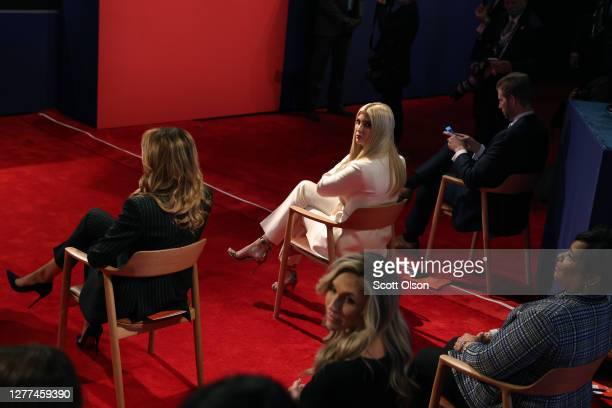 First lady Melania Trump Ivanka Trump and Eric Trump arrive to the presidential debate between President Trump and Joe Biden at the Health Education...