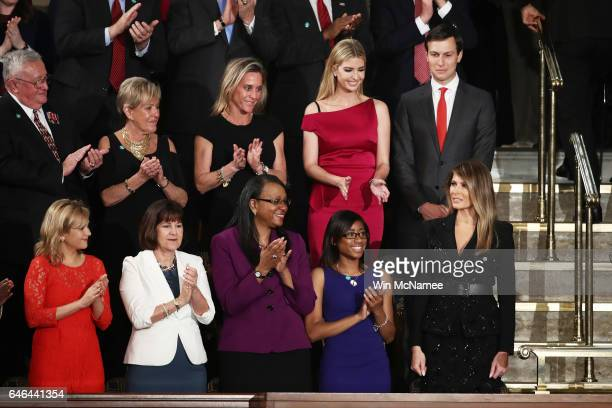 First lady Melania Trump Ivanka Trump and White House Senior Advisor to the President for Strategic Planning Jared Kushner arrive to a joint session...