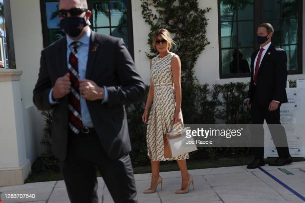 First lady Melania Trump leaves after casting her vote at the Morton and Barbara Mandel Recreation Center polling place on November 03, 2020 in Palm...