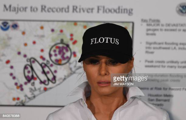 US First Lady Melania Trump listens during a firehouse briefing on Hurricane Harvey in Corpus Christi Texas on August 29 2017 President Donald Trump...