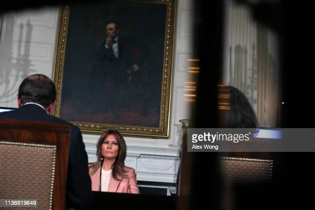 S first lady Melania Trump listens during an Interagency Working Group on Youth Programs during a State Dining Room event at the White House March 18...