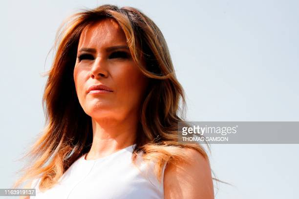 US First Lady Melania Trump looks on during a visit on traditional Basque culture with G7 World leaders' spouses in Espelette near Biarritz as part...