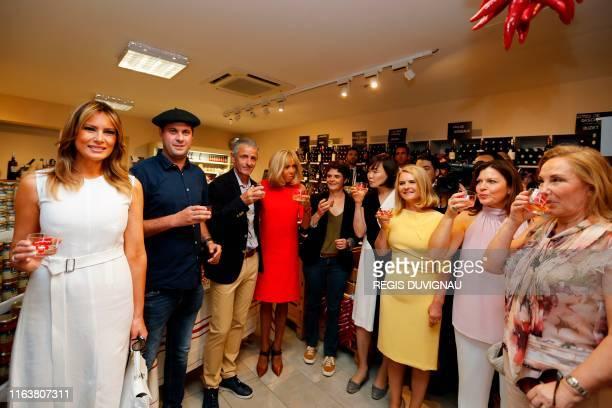 US First Lady Melania Trump Mayor of Espelette JeanMarie Iputcha French President's wife Brigitte Macron Japan's Prime Minister's wife Akie Abe...