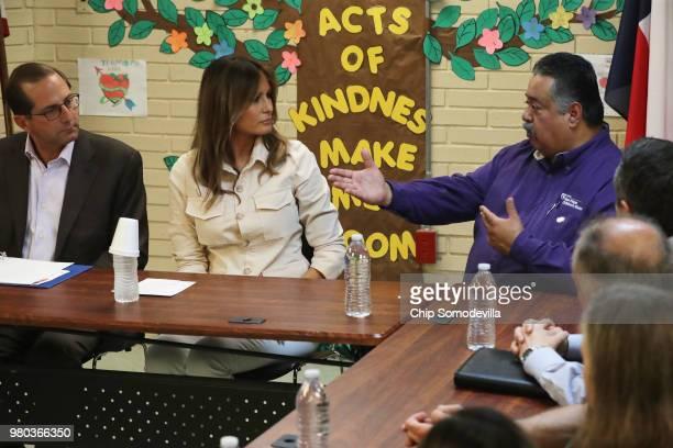 S first lady Melania Trump participates in a round table discussion alongside HHS Secretary Alex Azar and program director Rogelio de la Cerda Jr...